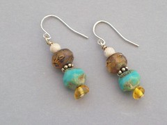 Czech Glass & Amber Earrings (sweetanniesjewelry) Tags: amber earrings sterlingsilver czechglass