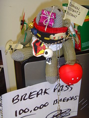 Desk monkey (Derek the conqueror) Tags: work toy monkey office plush mascot softie ridiculous abuse cruel pgtips