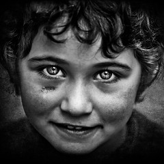 look at me!! (thevedats) Tags: portrait bw girl face kids children eyes poor 500x500 alemdagqualityonlyclub winner500