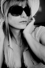 sara (SanchezCastillejo) Tags: portrait woman love blanco mujer sara y retrato sony negro bn murcia gafas sombrero alhama a700 castillejo 50mm17