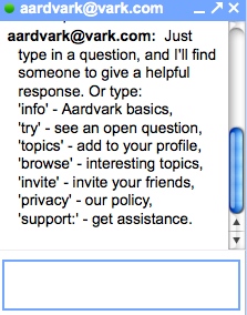 Gmail chat interaction with Aardvark