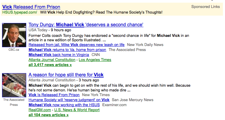 A screen capture of a Google news search result page with a paid ad at the top.