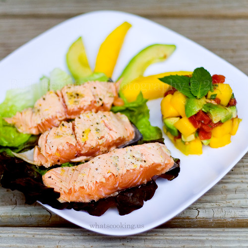 Salmon and mango avocado mint salad