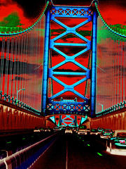 Mosey Across The Bennie (Groovyal) Tags: road bridge philadelphia franklin ben toll