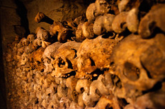 Bones stacked in the Catacombs