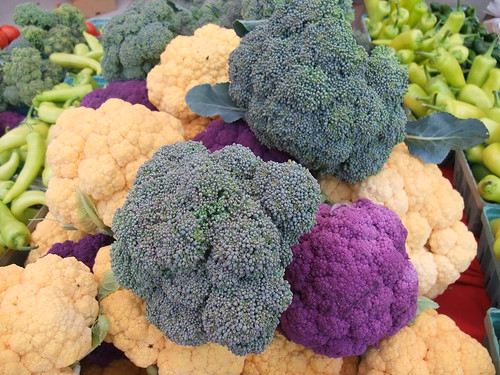 Purple and Orange Cauliflower and Broccoli