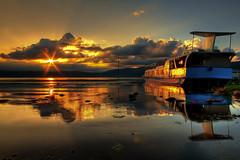 Lake Cruiser (TheJbot) Tags: sunset lake reflection water japan clouds boat tour flare distillery hdr jbot suwa sunflare thejbot crappyjunkinthewatermakesforbadreflections