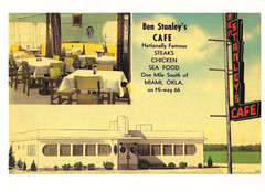 Route 66 Ben Stanley's Cafe Postcard (crayolamom) Tags: usa oklahoma vintage advertising cafe route66 highway miami postcard ad northamerica ok reprint