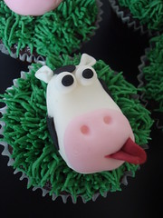 Moo! Cow cupcake for boys farm themed birthday party (Angelina Cupcake) Tags: birthday horse animals pig cow duck sheep farm cupcake angelina