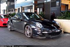 Porsche 911 Turbo Cabriolet [997] - front right (Crown, Vic, 13 Aug 09) (98octane) Tags: auto street car 911 australia melbourne victoria exotic turbo german porsche spotted sportscar cabriolet 997 997tt