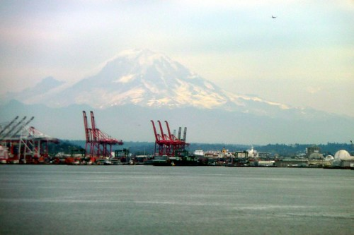 Mt. Rainier above the harbor