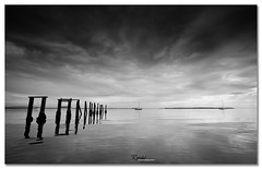 Going the Distance (Reedy Photography) Tags: ocean blackandwhite seascape clouds poles canon1635mm reedyphotography wwwreedyphotographycomau