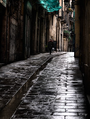 Lights and shades of a narrow street