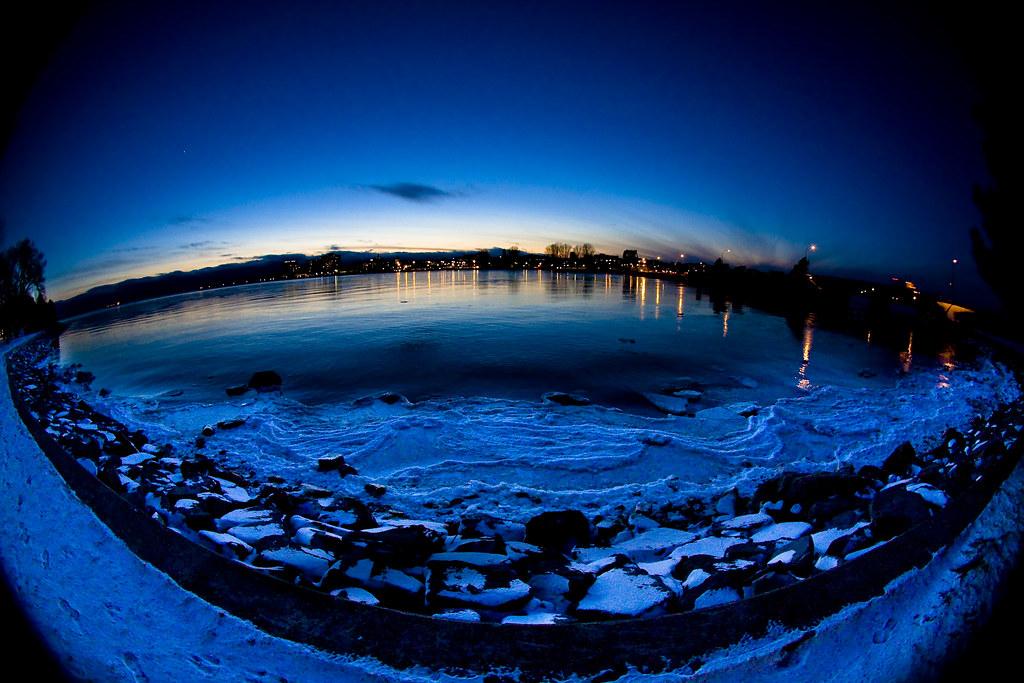 Kingston at Night thru Fisheye