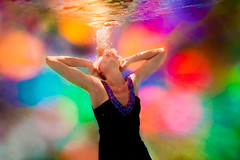 disco lights (SARA LEE) Tags: california blue light orange pool photoshop circle disco lights jackie university underwater dress bokeh bubbles overlay colourful oc chapman sarahlee legothenego vivantvie