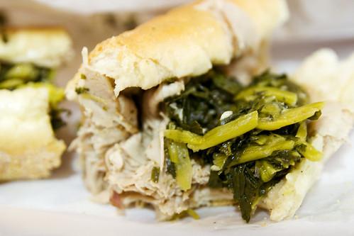 roast pork sandwich with broccoli rabe