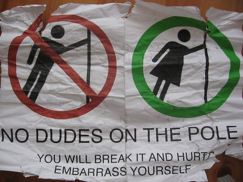 NO DUDES ON THE POLE - You will break it and hurt and embarrass yourself
