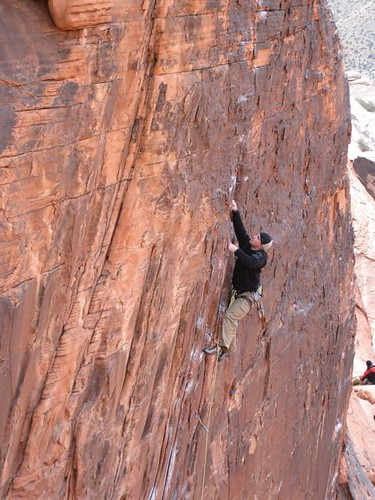 Shawn on lead on Totally Clips, Panty Wall, First Pullout Calico Hills, Red Rock, NV.