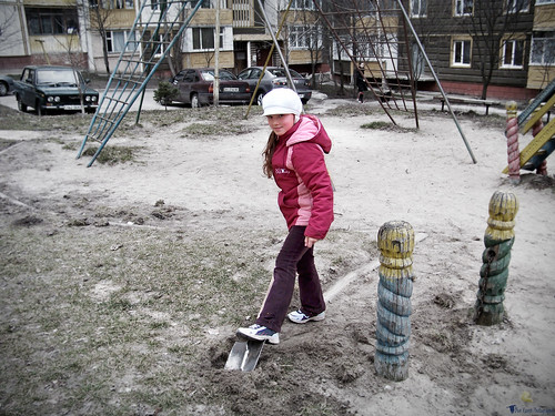 Maryna Working on the Playground
