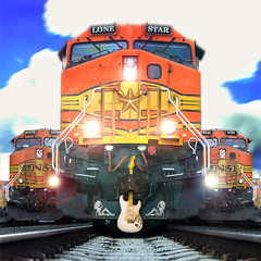 Strat-o-catcher (Jeff Burger) Tags: seattle railroad collage clouds austin washington texas trains georgetown fender pacificnorthwest locomotive cowgirls olympusc5060 lonestar photoshopcs2 bnsf stratocaster sodo thestranger electricguitar 78704 southaustin mudflaps cdcoverart honkytonks countrywestern keepaustinweird seattleweekly jeffburger jbstudio dramatisation airportwaysouth lonestarbros southendseattle