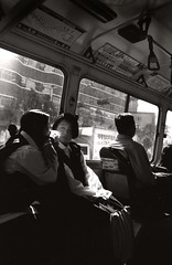 Seoul Girls On The Bus (ruairiob) Tags: urban blackandwhite bw bus 28mm 1996 seoul passenger schoolgirls passenges