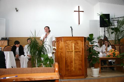Cristina Bârnaz spune mărturia la botezul ei