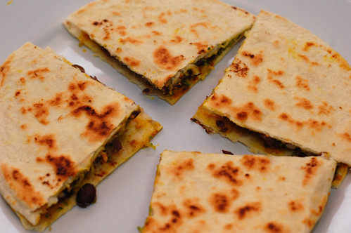 Black Bean and Zucchini Stuffed No-Queso Quesadillas