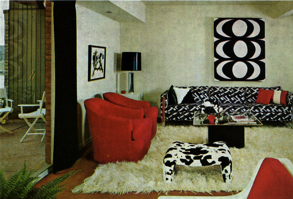 Black, White, and Red Living Room