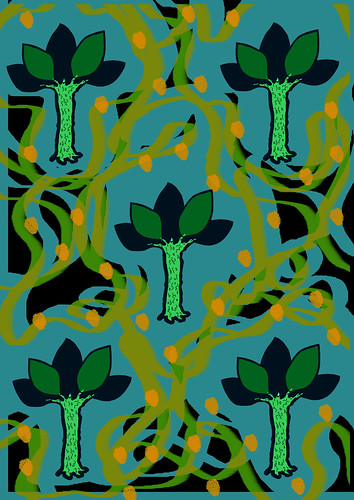 Blue Green Tree Print