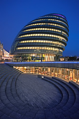 London City Hall (Philipp Klinger Photography) Tags: city uk bridge blue light shadow england sky orange building london tower window glass yellow architecture stairs facade hall nikon britain walk united tripod hill great kingdom drop norman queen queens foster hour gb sir dri hdr d700 theunforgettablepictures goldstaraward vanagram