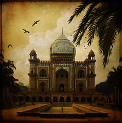 The Twilight of a Mughal Dream (designldg) Tags: travel india building heritage history birds mystery architecture clouds spectacular evening asia colours delhi magic muslim islam perspective dream atmosphere symmetry silence soul ethereal devotion geometrical marble spiritual contrejour celestial mughal safdarjungstomb  supershot indiasong theunforgettablepictures hourofthesoul lesamisdupetitprince