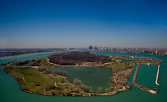 Detroit (paulhitz) Tags: blue sky usa ontario canada color water skyline photography michigan detroit aerial windsor aerialphotography detroitriver belleisle paulhitz