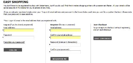 Debenhams registration