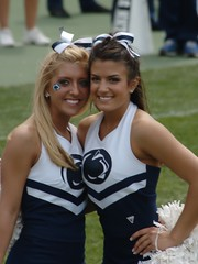 cute cheerleaders (ianturton) Tags: blue white girl football stadium beaver cheerleader 2009 bluewhite beaverstadium psu