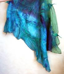 Nuno felted shawl/scarf Azure (JaneBoFELT) Tags: blue felted scarf azure silk felt shawl etsy nunofelt