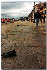 Solitary Shoes (Massimo Santo | Photography) Tags: venice wet clouds canon eos san marco lamps laguna venezia conrtast abbandonate 1000d scaprpe apvement