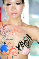 CHINA BODYPAINTING (cardanlight) Tags: china sexy ed fair lips bodypainting copy canton hardy ce export leuchte d300 topmodel topgirl leuchtenmesse