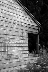 Abandoned cottage (lydiafairy) Tags: blackandwhite bw abandoned window wall rural graffiti cabin nikon decay cottage peelingpaint weatheredwood ruraldecay summercottage d80 50nmm