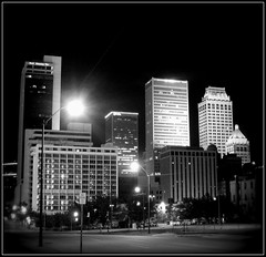 Tulsa, and Thank You All (dart5150) Tags: city bw skyline architecture night buildings cityscape noflash handheld tulsa