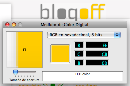 Captura del Medidor de Color Digital capturando el amarillo Blogoff