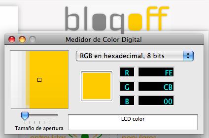 Captura del Medidor de Color Digital capturando el amarillo Blogoff