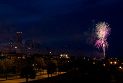 Chicago - July 3 Fireworks (toast322) Tags: chicago skyline architecture fireworks july gps geotag 2009 prudentialbuilding aoncenter burnhampark johngsheddaquarium lakepointetower nikond90 nikongp1 nikonafs1870mmf3545 thomasmkost