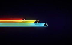 Pac-Tron (Pixel Fantasy) Tags: light wallpaper game retro pacman ghosts tron