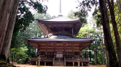 wooden pagoda in dai garan, koya-san