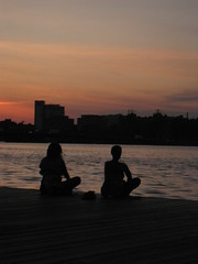 Sitting (historygradguy (jobhunting)) Tags: two people woman water silhouette boston river ma person dock sitting dusk candid massachusetts charlesriver newengland frombehind sit mass seated bostonist aplusphoto
