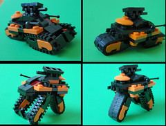 Bandwagons are fun and exciting! (Gogglez) Tags: orange black tank lego transformer bandwagon transformatank