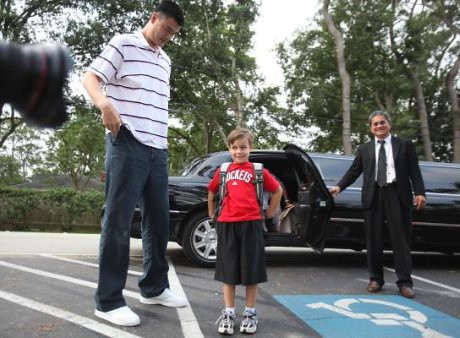 May 19, 2011 - Yao Ming visits an elementary school in Houston as part of a commitment he made for a Tux & Tennies charity auction