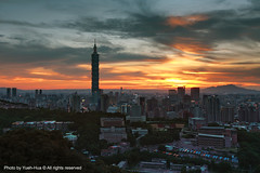 Taipei City at Sunset, Taiwan  Jun. 6, 2011 (*Yueh-Hua 2013) Tags: 2011june taipei101               sunset 101 101 night architecture fine tigerpeak building buildings tower taipei dslr camera skyscraper canon 5d taiwan  canoneos5d eos     l taipei101internationalfinancialcenter taipei101skyscraper horizontalphotograph canonef1635mmf28liiusm
