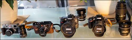Leica M8, M9, Voigtlander 28mm f/2 Ultron, 75mm f/2.5 Heliar, Zeiss 50mm f/2 T* Planar, Nikon D7000, D5100, 10-24mm, 16-85mm, 35mm f/1.8, 55-300mm, 50mm f/1.2 MF.