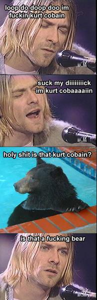 Kurt Cobain hablando con un oso